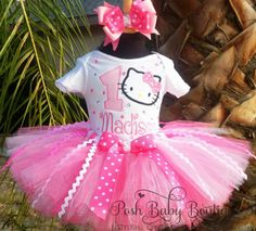 Pink Blinged Shimmer Hello Kitty Birthday Girls Tutu Outfit