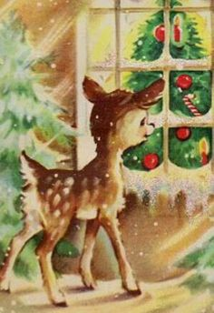 Vintage Vic: We've All Gone Deer Crazy This Christmas! Vintage Vic: We've All Gone Deer Crazy This Christmas! Old Time Christmas, Old Fashioned Christmas, Christmas Scenes, Christmas Deer, Christmas Animals, Retro Christmas, Christmas Holidays, Xmas, Primitive Christmas