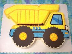 Remy's Dump Truck Grandson's 2nd birthday cake. He loves dump trucks. Pattern for cake made from party plate. Buttercream with...