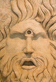 Head of Cyclops, mythical Roaman god stock photo