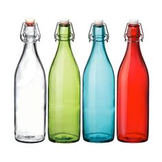 Kitchen storage essentials: Giara Hermetic glass bottles from The Container Store Colored Glass Bottles, Glass Water Bottle, Bottled Water, Tidy Kitchen, Kitchen Storage, Kitchen Stuff, Kitchen Gadgets, Kitchen Ideas, Kitchen Upgrades