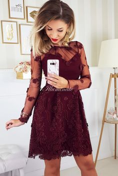 LIVIA bordowa Dresses Online, Cool Outfits, Dresses With Sleeves, Prom, Long Sleeve, Womens Fashion, Design, Target, Vestidos