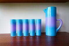 Blendo Pitcher and Five Mid Century Blendo Tom Collins / Hi Ball / Lemonade Glasses Blue