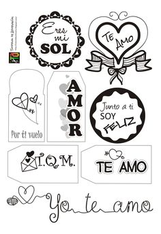 Muestra de etiquetas para San Valentín por Tutorial de Artesanías Printable Labels, Printables, Decorate Notebook, Diy Blog, Diy Weihnachten, Silhouette Projects, Love Gifts, Hand Lettering, Coloring Books