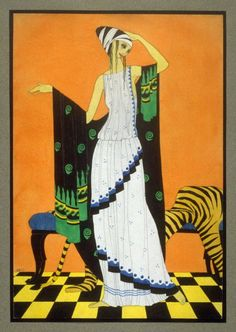Woman dressed in Ancient Greek-style costume. Mac Harshberger, A History of Costumes, 1928-32. Watercolor. USA. Via FAMSF