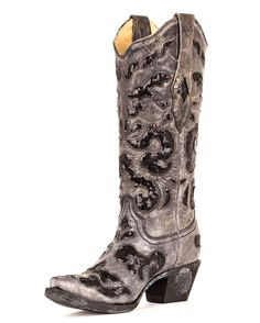 Perfect for Austin Rodeo and Gala night with Dirk's Bently coming this year!  Women's Black Crater Sequins Inlay Boot - A1065