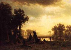 An Indian Encampment by Albert Bierstadt, Oil on canvas