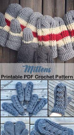 Cozy Mittens Crochet Patterns Great Cozy Gift - A More Crafty Life Crochet Mitts, Crochet Mittens Free Pattern, Crochet Cable, Knit Or Crochet, Crochet Scarves, Crochet For Kids, Crochet Clothes, Crochet Stitches, Crochet Hooks