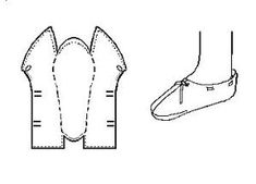 """Anglo-Scandinavian Staeppescoh or Slipper """"Type 1"""" (10th-11th Centuries) The typology is based on that used by Carlisle, although any errors in the interpretation here are likely to be mine. This one-piece-shoe from Jorvik generally resembles to the Lembecksburg Fohr Slipper. This is a turnshoe. There is no upper binding stitch, except perhaps at the instep. Sewing is most generally done with a 1 mm, or so, """"thread"""" of leather lacing. by amie"""