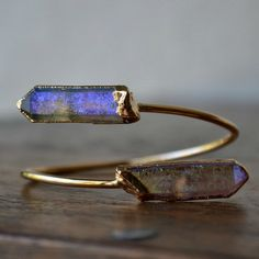 Aqua Aura Crystal Quartz Wrap Gemstone Bracelet /// Gold