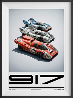The Porsche 917 Family Poster. To say the Porsche 917 helped to stamp the German automaker's authority on the 24 Hours Of Le Mans race is an understatement. The 917 didn't just win the event, it sent every other manufacturer back to the drawing board and helped to kick-start decades of Porsche success at the French classic. This poster and many more are now available at shop.petrolicious.com