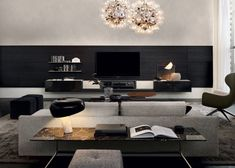 This stunning living space is centred by the Quid day system - a versatile modular system which accommodates various configurations. Small Living, Living Area, Living Spaces, Tv Furniture, Furniture Design, Flat Interior, Interior Design, Tv Wall Decor, Living Room Inspiration