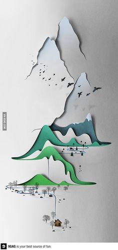 Amazing paper-cut landscape