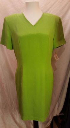 Talbots Green Lime silk Dress Petites Lined Short Sleeve Fitted Pencil Sz 10 P #Talbots #Sheath #Cocktail