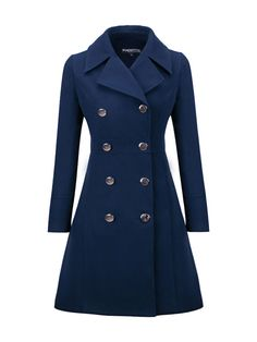 Shopping Lapel Double Breasted Plain Woolen Coats online with high-quality and best prices Outerwear at Luvyle. Color Type, Formal Coat, Hobbs Coat, Mode Mantel, Look Retro, Mature Fashion, Lolita, Coat Dress, Outerwear Women