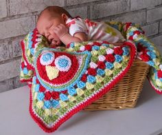 Crocheted newborn baby blanket