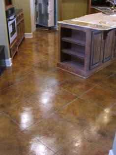 tempted: acid stained concrete floors for basement Painting Basement Floors, Best Flooring For Basement, Basement Floor Plans, Basement Ideas, Floor Painting, Soft Flooring, Diy Flooring, Kitchen Flooring, Flooring Ideas