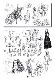 Luffy, Nami, Bartholomew Kuma, and zombie concept art. [[Some of Lola's crew?]] One Piece Color Walk Artbook 7
