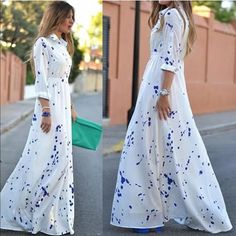 "RESTOCKED!!!!!! Bestselling Longsleeve maxi dress in bright white with royal blue dots. Dress has collar and roll up sleeves and buttons down the front to the waist. A stylish unique piece that can be dressed up or down. Size medium  measurements: 36""bust, 29""waist (elastic waist)."