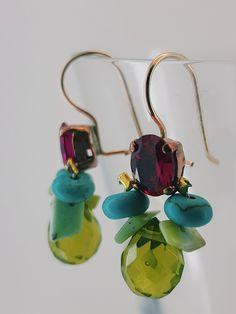 Bee Earrings Fuchsia Crystal, Turquoise