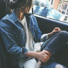 Image via We Heart It https://weheartit.com/entry/172341499 #car #evening #girl #jeans #look #sitting #street