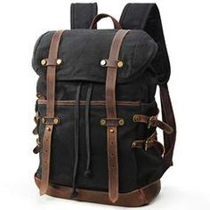 Amazing offer on Lifewit Waxed Canvas Backpack Waterproof Inch Laptop Casual School College Bags Travel Rucksack online - Greattoptrendy Best Laptop Backpack, Molle Backpack, Hiking Backpack, Leather Backpack, Laptop Bags, Messenger Bags For School, Canvas Messenger Bag, Waxed Canvas, Canvas Leather