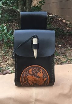 Hand tooled black over brown leather belt pouch with Fenrir wolf design - SCA/LARP/Dagorhir/Medieval/Viking/Norse
