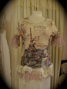 Paris+Cottage+Top+shabby+layered+laces+by+TatteredDelicates,+$85.00