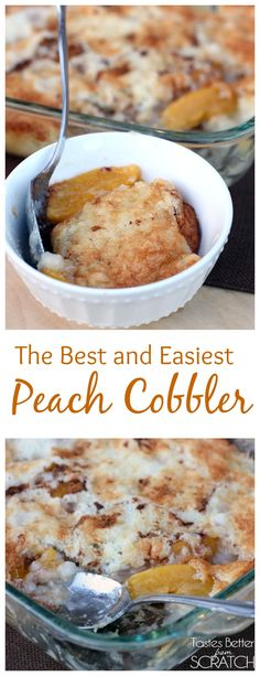 The Best and Easiest Peach Cobbler--My Mom has been making this recipe for years and it's our families all time favorite!! On MyRecipeMagic.com