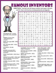 003 Great Inventions Word Search Puzzle Word puzzles