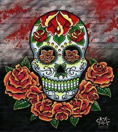 Sugar Skull n Roses Dia De Los Muertos Tattoo Design