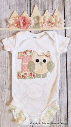 First birthday vintage glam owl onesie with lace detail on the legs and matching vintage fabric crown by Princess Dreams Designs