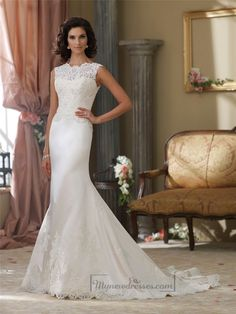 Cap Sleeves A-line Illusion Bateau Neckline Wedding Dresses with Deep V-back