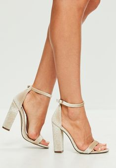 Missguided - Cream Speckled Velvet Barely There Block Heels
