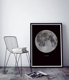 Full Moon Artwork La Luna Poster  by Little Ink Empire Etsy