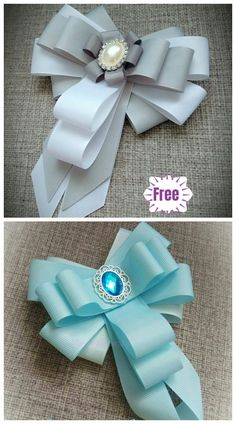 DIY Bead Ribbon Bow Brooch Tutorial - Video Here is a useful and stylish craft project on making ribbon brooch with bead for white shirts, it's a good addition for office ladies in hot summer. I have posted… Ribbon Hair Bows, Diy Hair Bows, Diy Bow, Bow Ribbon Diy, Tulle Pew Bows, Ribbon Projects, Ribbon Crafts, Wilde Hilde, Ribbon Bow Tutorial