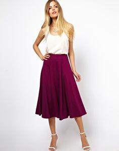 Image 1 ofASOS Midi Skirt with Stitch Waist Detail