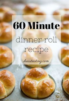 60 Minute Dinner Rolls are soft and tender yeast rolls that are made from scratch - start to finish - in just 1 hour! A great easy yeast bread recipe. Easy Yeast Rolls, No Yeast Dinner Rolls, Dinner Rolls Recipe, Bread Rolls, No Yeast Bread, Yeast Bread Recipes, Bread Baking, Amish Bread, Cornbread Recipes