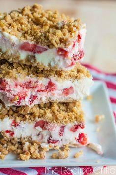 Frozen Strawberries and Cream Dessert Recipe.