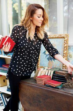black chiffon blouse with white polka dots // Lauren Conrad 2013