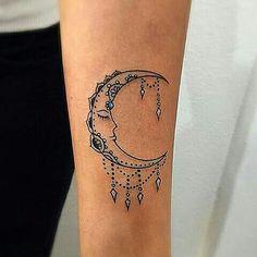 Mini Tattoos, New Tattoos, Tatoos, Mandala Tattoo, Arm Tattoo, Cresent Moon Tattoo, Moon Tattoo Designs, Cool Tats, Polaroids