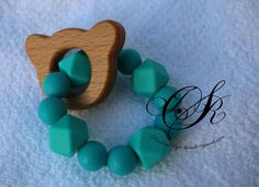 Mini Wooden Teether // Teething Toy // Wood Teether // Baby Gift // New Mom // BabyShower Gift // Silicon Teether // Teal Teether by PreciousByShivali on Etsy