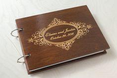 Golden Guest Book, Wooden Guest Book, Wedding Album, Personalized  Guest Book, Custom Guest Book, Wedding Gift