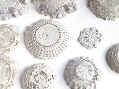 Plaster of paris to do via freshly found: Each doily is dipped into Plaster of Paris and is then coated and gently baked with a layer of sealant. This makes the delicate dishes slightly more robust and water resistant.