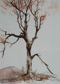 Fall tree watercolor via Etsy..