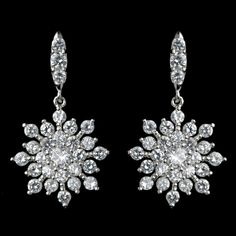 Sparkling CZ Snowflake Winter Wedding and Special Occasion Earrings - Affordable Elegance Bridal -