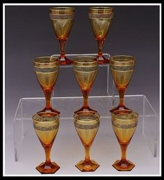 Rare Set of 8 Antique Moser Amber Gold Crystal Port Wine Stems Copenhagen