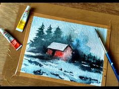 Simple watercolor Landscape Painting - YouTube