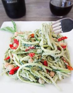 Zucchini Pasta with Avocado Pesto from One Ingredient Chef