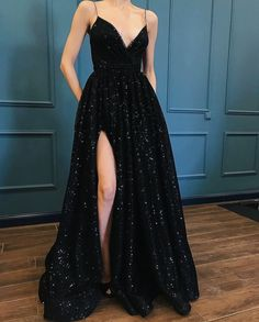 love the black glitz with the high leg slit